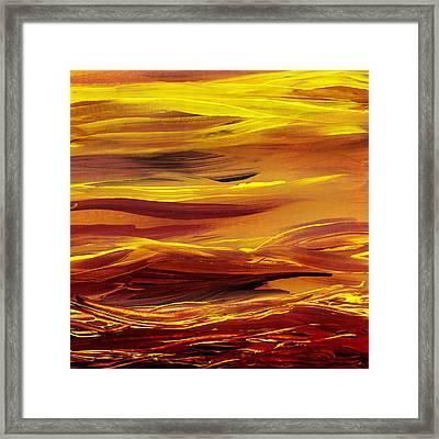 Yellow River Flow Abstract Framed Print by Irina Sztukowski
