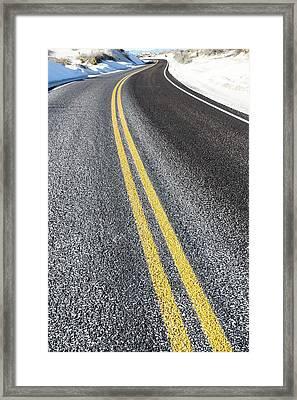 Yellow Road Markings Framed Print by Wladimir Bulgar