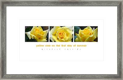 Yellow Rose On The First Day Of Summer Framed Print by Michelle Calkins