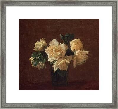 Yellow Roses Framed Print by Ignace Henri Jean Fantin-Latour
