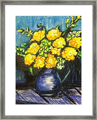 Yellow Roses In Blue Vase Framed Print