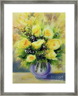 Yellow Roses Framed Print by Kathy Braud