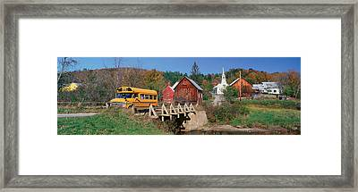 Yellow School Bus Crossing Wooden Framed Print
