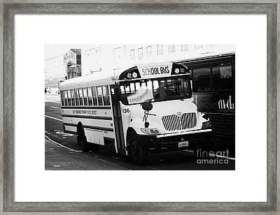 Yellow School Bus Parked By The Side Of The Road New York City Framed Print