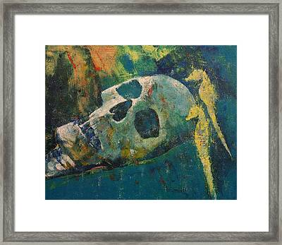 Yellow Seahorses Framed Print by Michael Creese