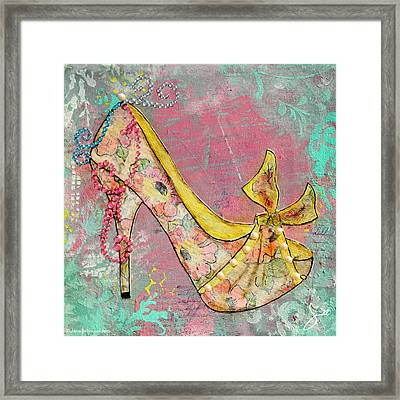 Yellow Shoe With Watercolor Flower Print Framed Print
