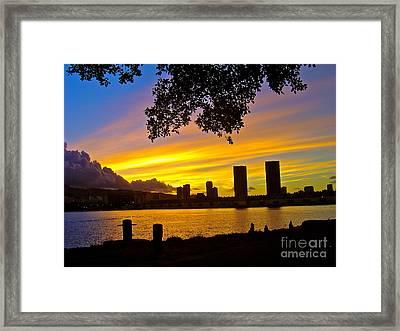 Yellow Skies Over Honolulu - No.2004 Framed Print