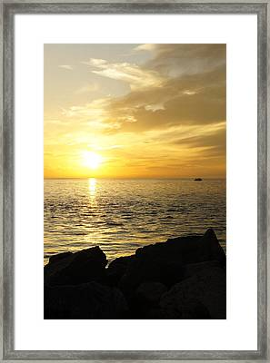 Framed Print featuring the photograph Yellow Sky by Laurie Perry