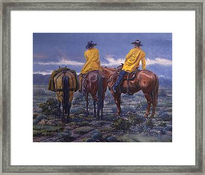 Yellow Slickers Framed Print by Randy Follis