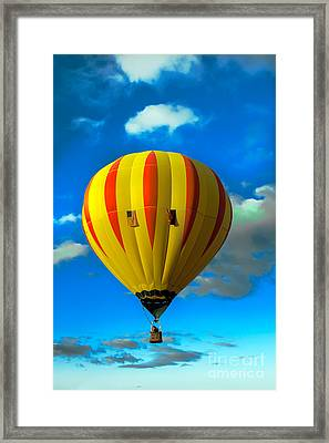 Yellow Sripped Hot Air Balloon Framed Print by Robert Bales