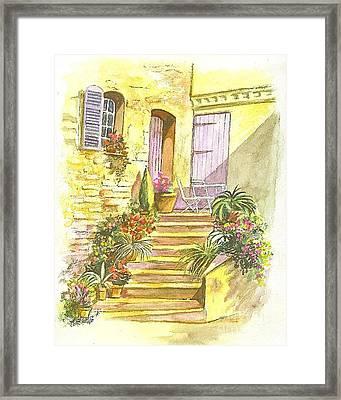 Yellow Steps Framed Print by Carol Wisniewski