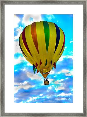 Yellow Striped Hot Air Balloon Framed Print by Robert Bales