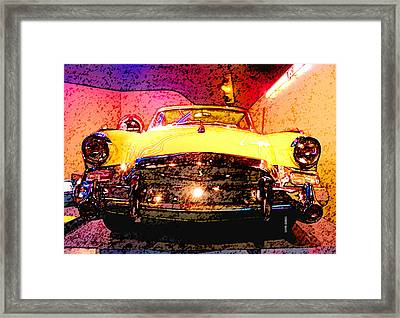 Yellow Studebaker Headlights Framed Print by Design Turnpike