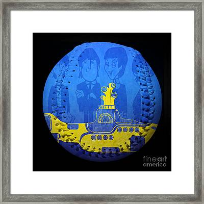 Yellow Submarine Baseball Square Framed Print by Andee Design