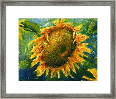 Yellow Sunflower Art In Blue And Green Framed Print