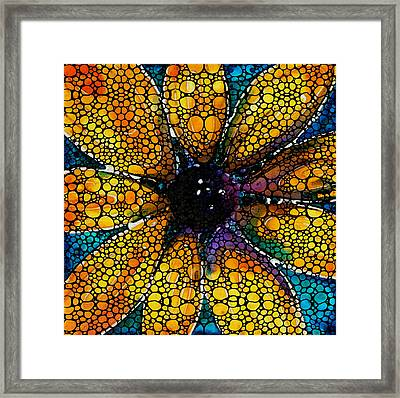 Yellow Sunflower - Stone Rock'd Art By Sharon Cummings Framed Print by Sharon Cummings