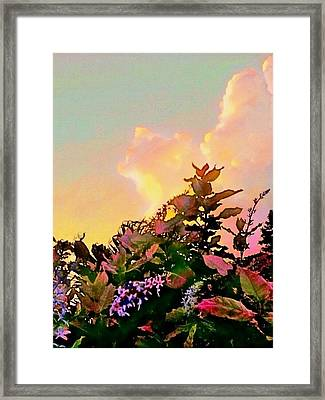 Yellow Sunrise And Flowers - Vertical Framed Print