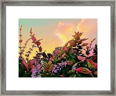 Yellow Sunrise With Flowers - Horizontal Framed Print