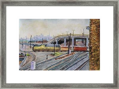Yellow Train And San Francisco Skyline Framed Print by Asha Carolyn Young