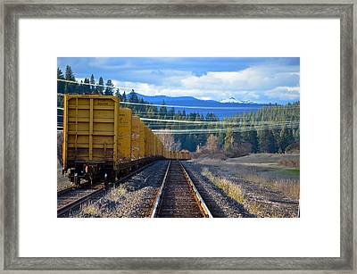 Yellow Train To The Mountains Framed Print