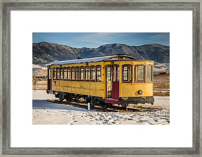 Yellow Trolley Framed Print by Sue Smith