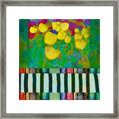 Yellow Tulips Abstract Art Framed Print by Ann Powell