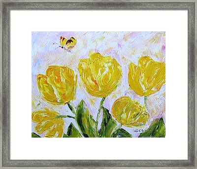 Yellow Tulips And Butterfly Framed Print