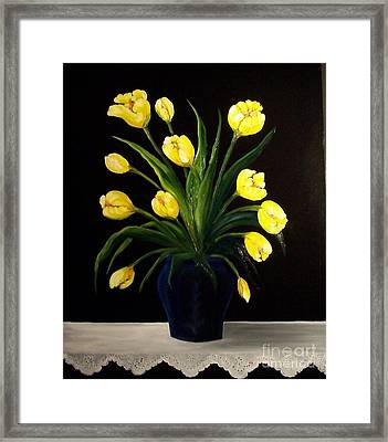 Yellow Tulips And White Eyelet Framed Print by Peggy Miller