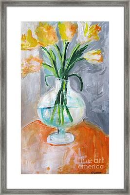 Yellow Tulips Framed Print by Venus