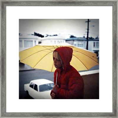 Yellow Umbrella - Polaroid 1976 Framed Print
