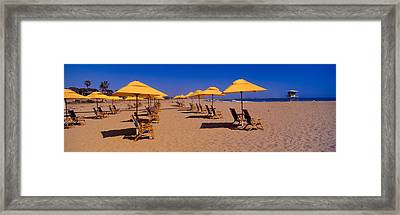Yellow Umbrellas And Beach Chairs Framed Print by Panoramic Images