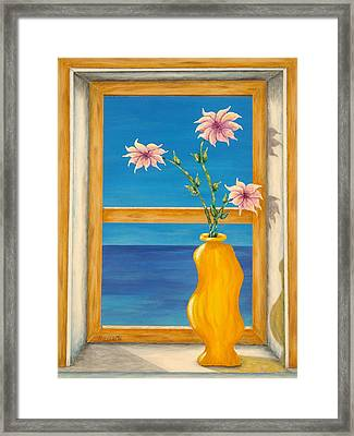 Yellow Vase With Sea View Framed Print by Pamela Allegretto