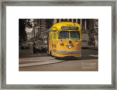 Yellow Vintage Streetcar San Francisco Framed Print by Colin and Linda McKie