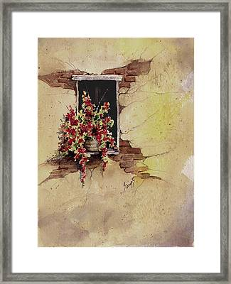 Yellow Wall With Red Flowers Framed Print by Sam Sidders