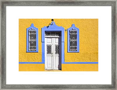Yellow Walls And Moorish Architecture In Mexico Framed Print by Mark E Tisdale