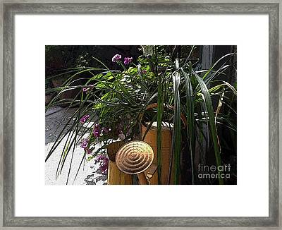 Yellow Watering Cans Framed Print by Yvonne Wright