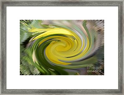 Framed Print featuring the digital art Yellow Whirlpool by Luther Fine Art