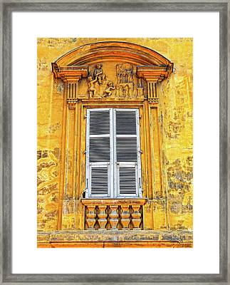 Framed Print featuring the photograph Yellow Window Nice France by Dave Mills