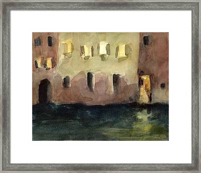 Yellow Windows At Night Watercolor Painting Of Venice Italy Framed Print