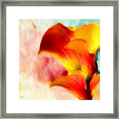 Yellow With A Red Framed Print