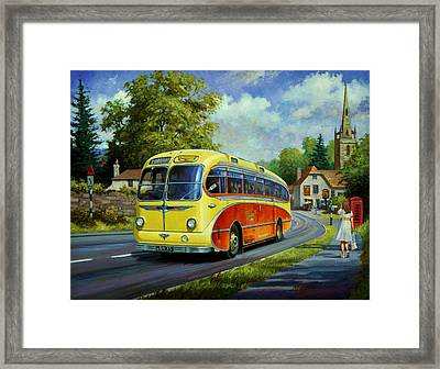 Yelloways Seagull Coach. Framed Print by Mike  Jeffries