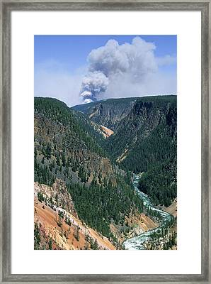 Yellowstone Afire Framed Print by Sandra Bronstein