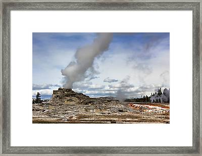 Yellowstone Castle Geyser Framed Print by Leslie Kirk