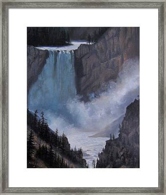 Yellowstone Falls Evening Framed Print by Mar Evers