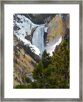 Framed Print featuring the photograph Yellowstone Lower Falls In Spring by Michele Myers