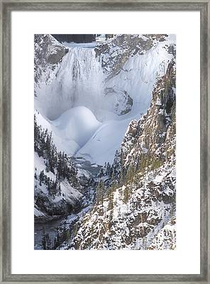 Yellowstone -  Lower Falls In Winter Framed Print by Sandra Bronstein