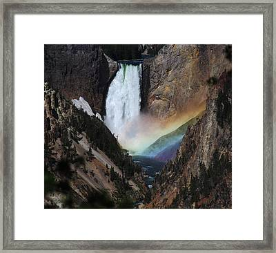 Yellowstone Lower Falls Rainbow Framed Print