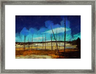 Framed Print featuring the digital art Yellowstone National Park by Kai Saarto