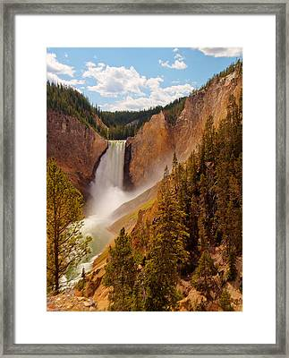 Framed Print featuring the photograph Yellowstone River - Lower Falls by Phil Stone