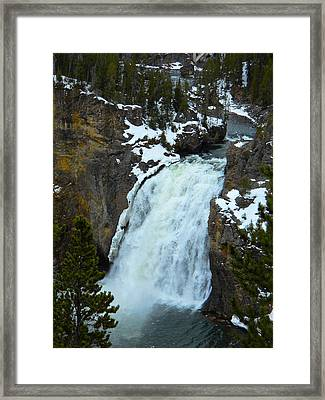 Framed Print featuring the photograph Yellowstone Upper Falls In Spring by Michele Myers